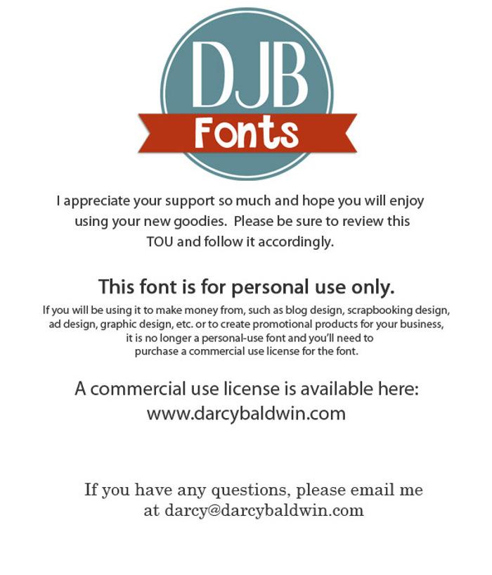 DJB On the Lighter Side Font poster