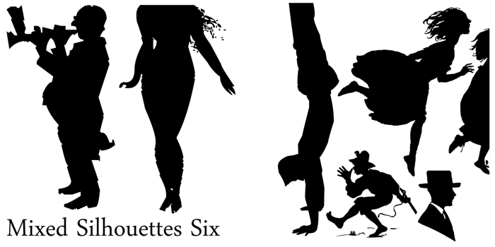 Mixed Silhouettes Six Font poster