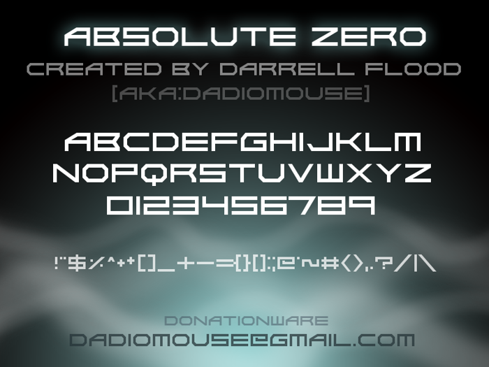 Absolute Zero Font poster