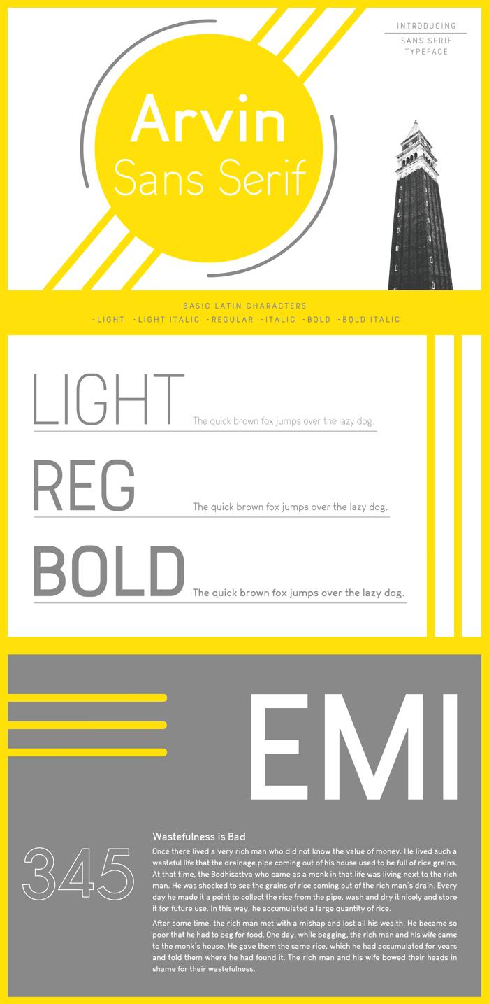 Arvin Light Font poster