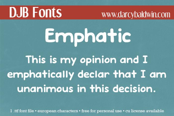 DJB EMPHATIC Font poster