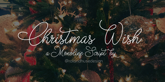 Christmas Wish monoline Font poster