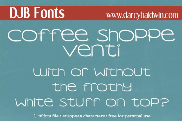 DJB COFFEE SHOPPE VENTI Font poster