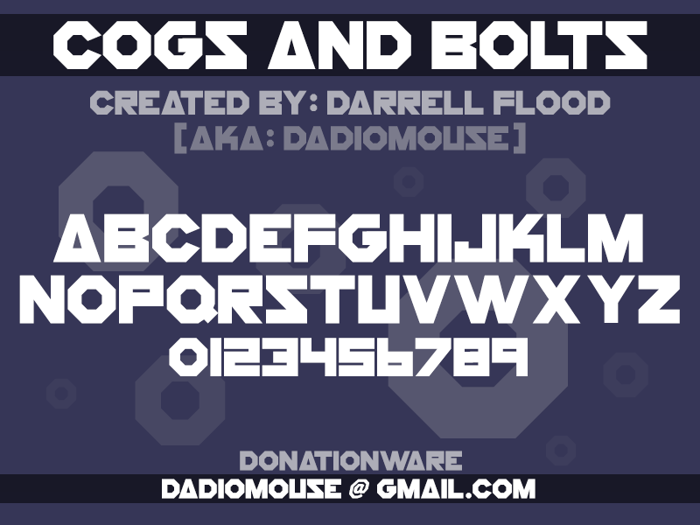 Cogs And Bolts Font poster