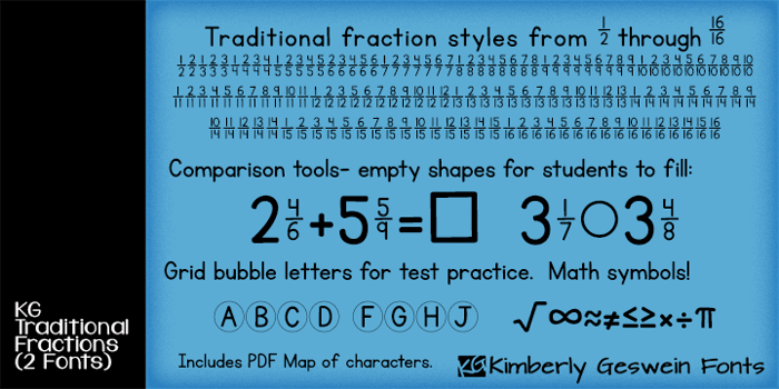 KG Traditional Fractions Font poster