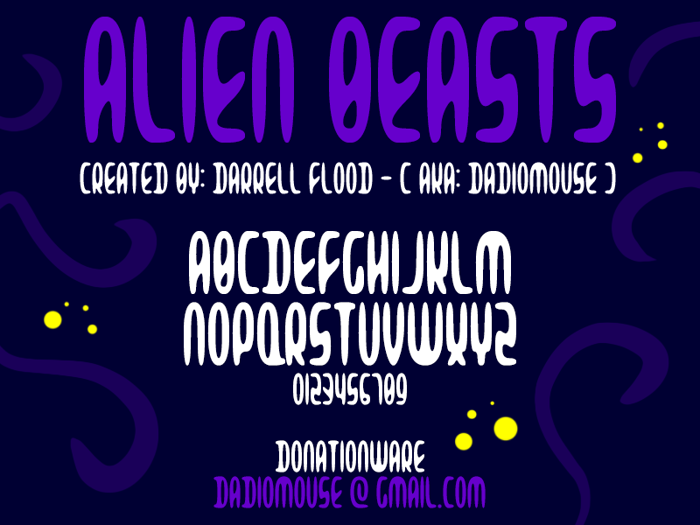Alien Beasts Font poster