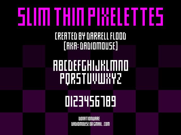 Slim thin pixelettes Font poster