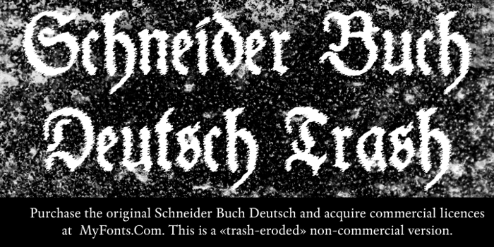 Schneider Buch Deutsch Trash Font poster