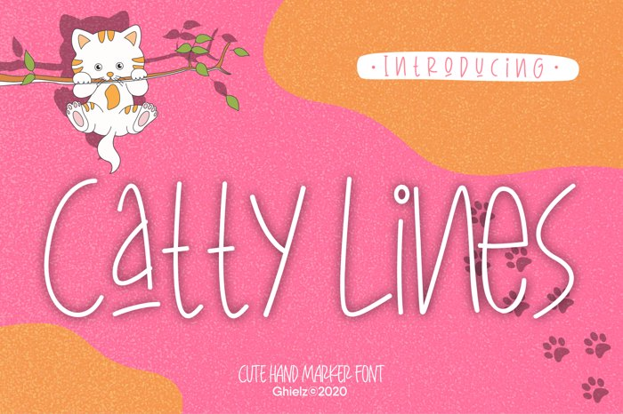 Catty Lines Font poster