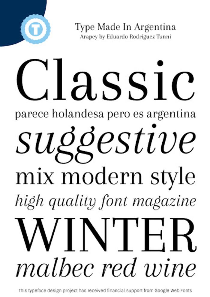 Arapey Font poster