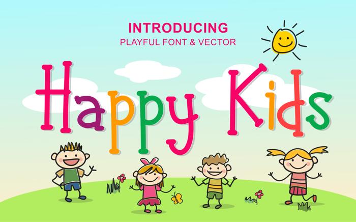 Happy Kids Font poster