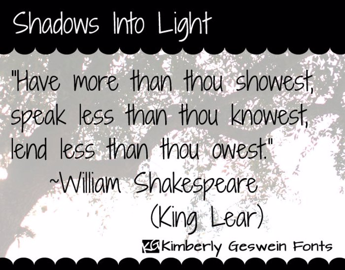 Shadows Into Light Font poster