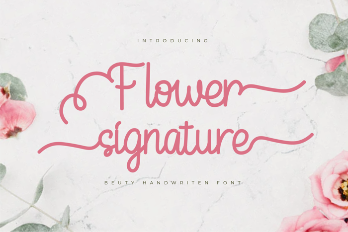 Flower Signature Font poster