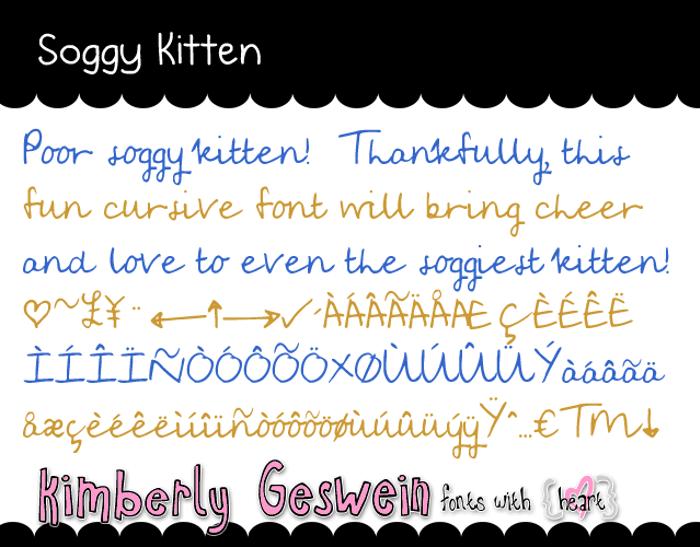 Soggy Kitten Font poster