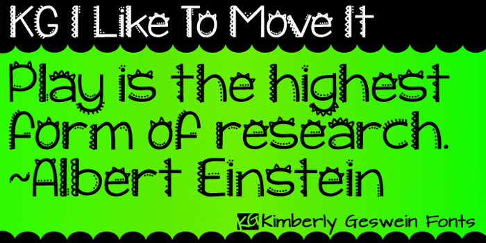 KG I Like To Move It Font poster
