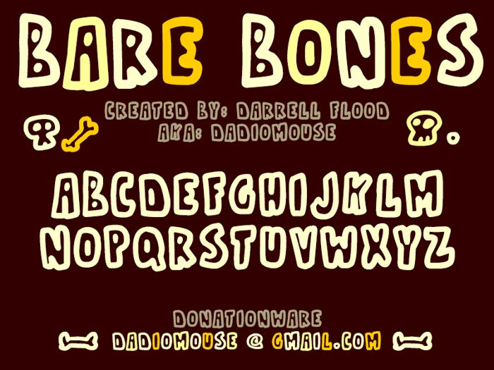 Bare Bones1 Font poster