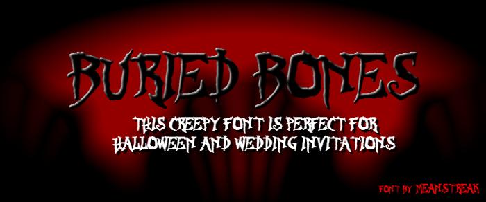 BURIED BONES Font poster