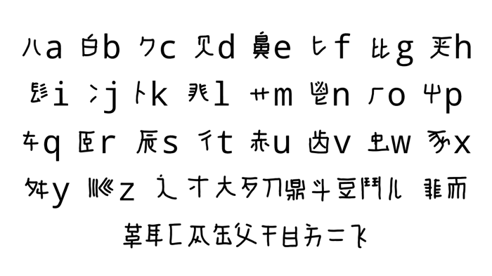 mandarin A-H Font poster