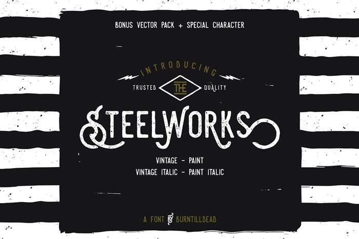 Steelworks Vintage Font poster