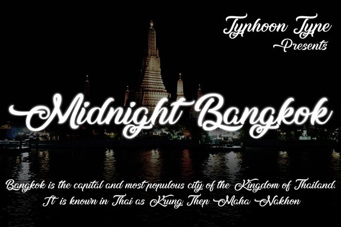 Midnight Bangkok Font poster