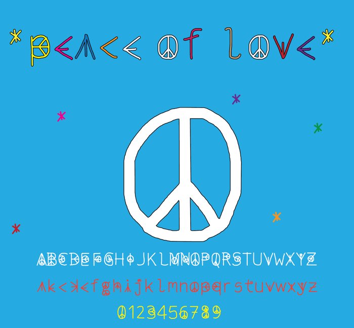peace of love Font poster