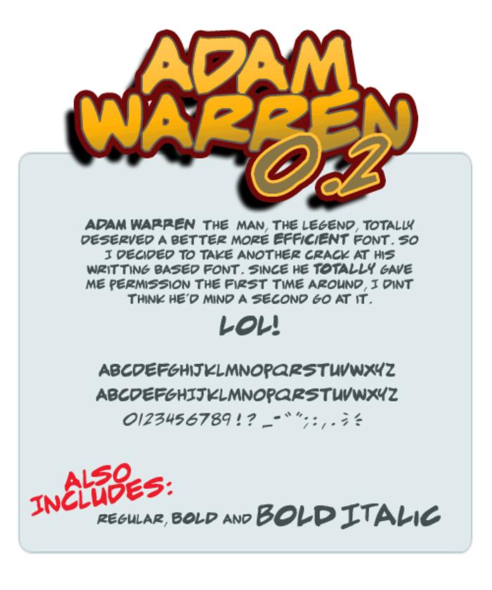 adam warren Font poster