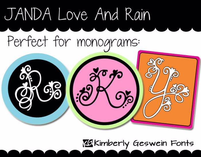 JANDA Love And Rain Font poster