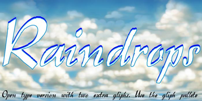 Raindrops Font poster