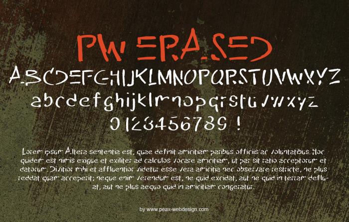 PW Erased Font poster