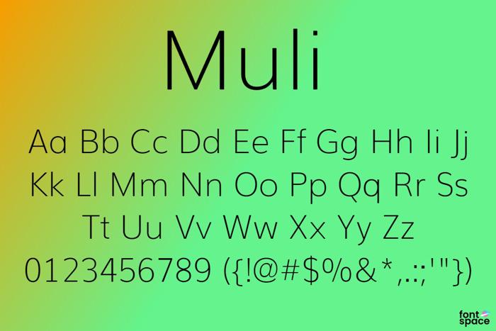 Muli Font poster