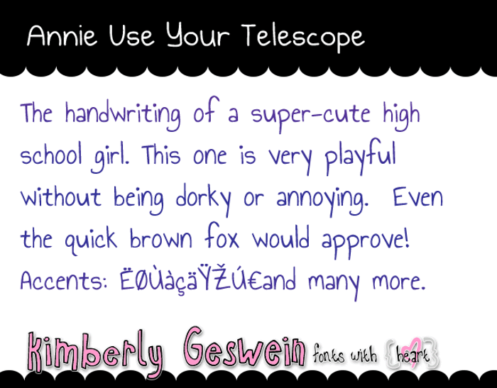 Annie Use Your Telescope Font poster