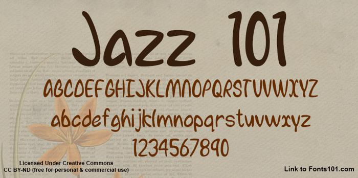 Jazz 101 Font poster