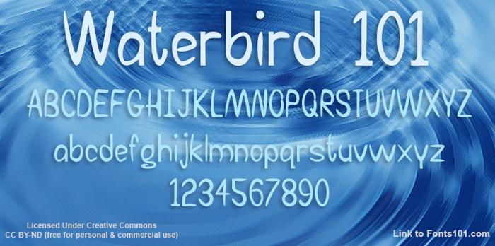Waterbird 101 Font poster
