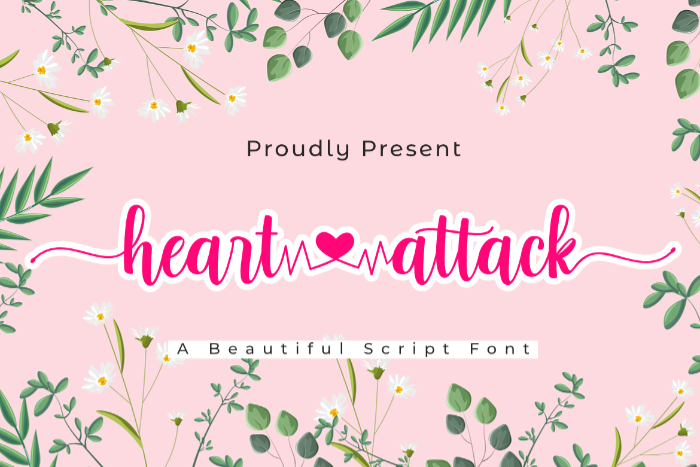 Heart Attack Font poster
