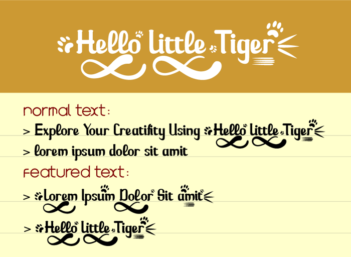 Hello Little Tiger Font poster