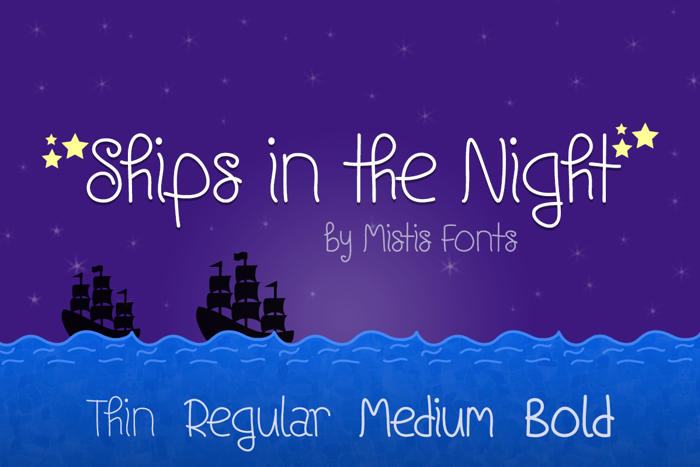 Ships In The Night Font poster