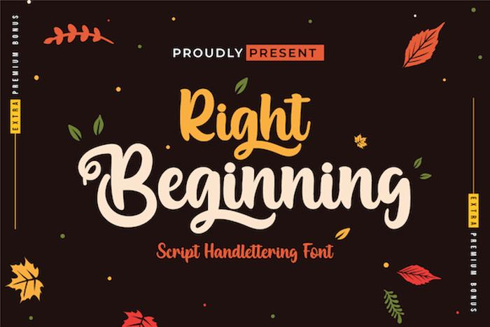 Right Beginning Font poster