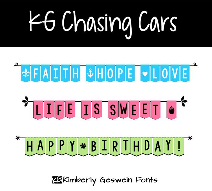 KG Chasing Cars Font poster