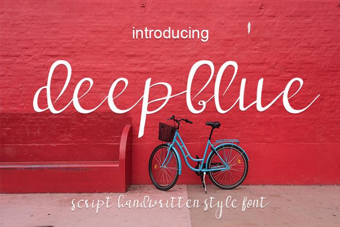 deep blue Font poster