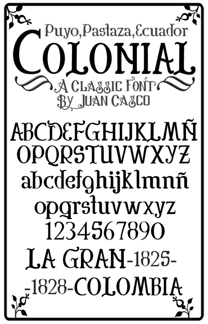 Colonial Font poster