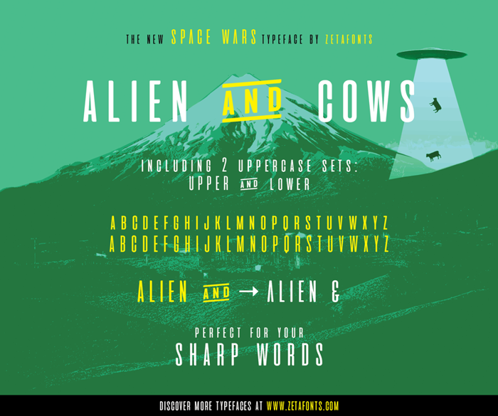 aliens and cows Font poster