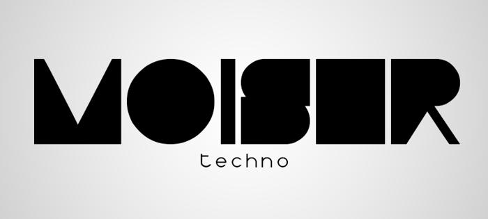 Moiser techno Font poster
