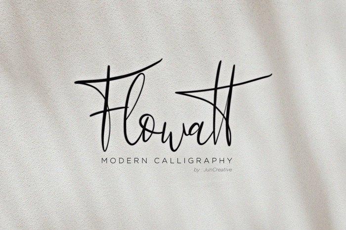 Flowatt Script Font poster