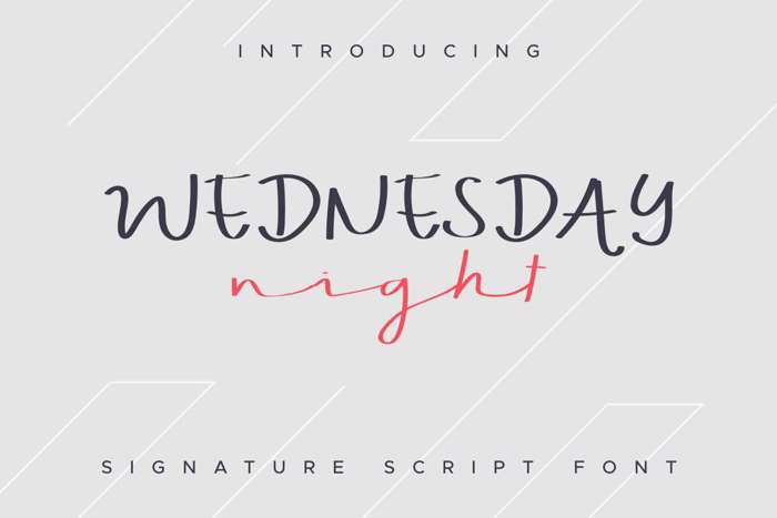 WEDNESDAY Night Font poster