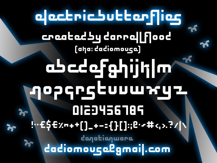 Electric Butterflies Font poster