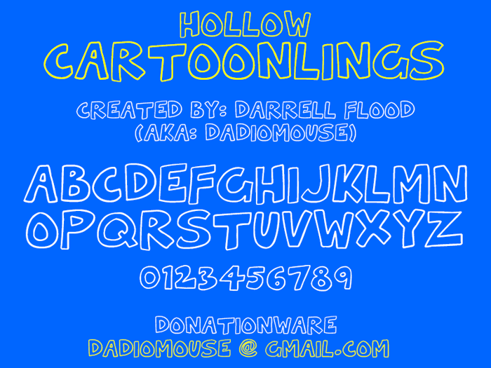 Hollow Cartoonlings Font poster