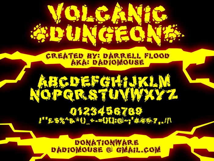 Volcanic Dungeon Font poster