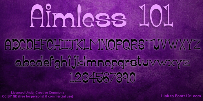 Aimless 101 Font poster