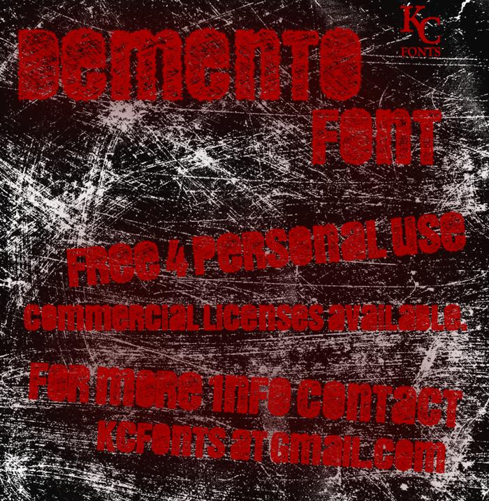 DEMENTO Font poster