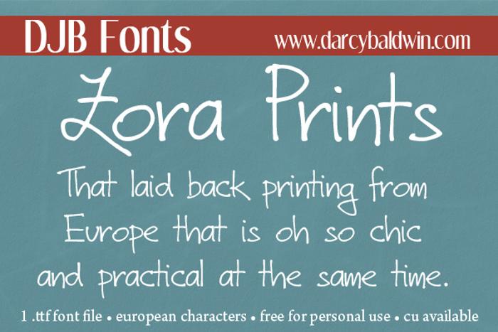 DJB Zora Prints Font poster